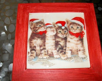 Deco frame this Christmas kittens