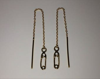 18ct Gold over Sterling Silver Threader Chain Drop Safety Pin Earrings.