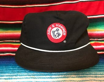 Arm & Hammer VTG Black Strapback hat with white rope