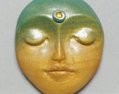 Large Green and Gold Polymer Clay and Yellow Rhinestone Art Doll Face Cabochon