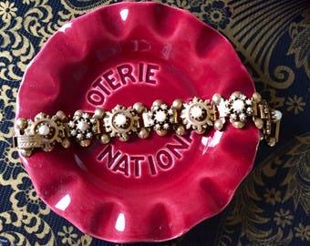Vintage Faux Pearl and Gold Tone Bracelet