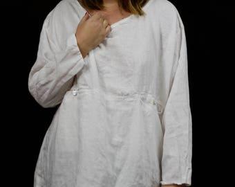White linen tunic, linen shirt, women linen clothing, loose linen tunic with pockets, linen plus size tunic, white linen blouse XL