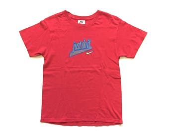 90s nike shirt vintage nike just do it nike swoosh t shirt raised spell out made in usa vtg tee size large L cotton red