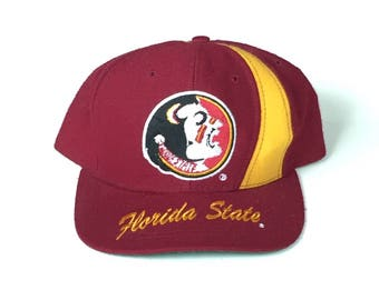 Floroda state seminoles Snapback noles Snap back Strapback hat One Size Adult Unisex twill nutmeg brim script 90s colour block ncaa football