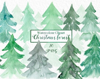 Watercolour christmas forest clipart. Watercolor clip art. Digital Watercolours clipart hand drawn. Spurce. fir tree.