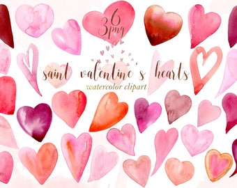 Hearts  Watercolor clipart , clipart hand drawn.  Valentines day clip art. Love clipart.