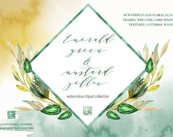 Emerald green and mustard yellow watercolour flowers clipart, hand drawn: TEMPLATES and FRAMES. Green and  yellow colors.  precious stones