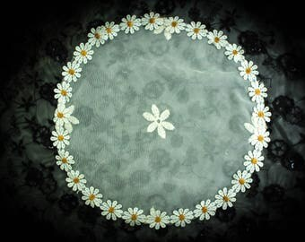 Flower Circle Daisy Chain Ivory Lace Chapel Cap