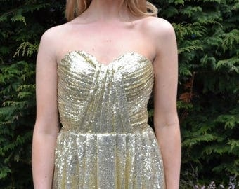 Summer Wedding Sale Custom made 'Cadence' prom dress strapless metallic sequin gown for bridesmaids or evening wear with sculpted bodice swe