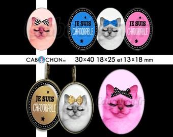 Chadorable • 45 Images Digitales OVALES 30x40 18x25 13x18 mm digital sheet chat cat cabochon cute bijoux noeud or doré mimi