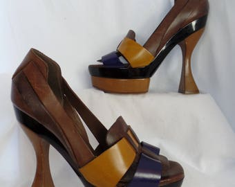 vintage MARNI colorblock statement pumps/ iconic heel and platform/ collectible couture: fits US size 7 - 7.5 narrowish/ EU 37.5