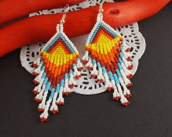 4th July Beaded earrings Native style Amerian earrings White jewelry Ethnic style seed bead earrings Blue red orange Elegant earrings