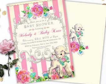 Lamb Baby Shower Invitation, Lamb Baby Shower Invites, Lamb Themed Baby Shower, Lamb Baby Shower Printable, Baby Shower Lamb Invitation