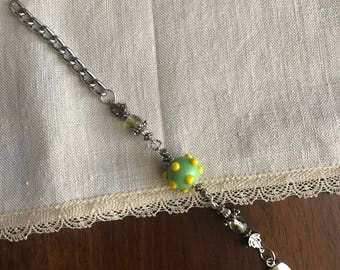 Silver and Green Glass Bracelet