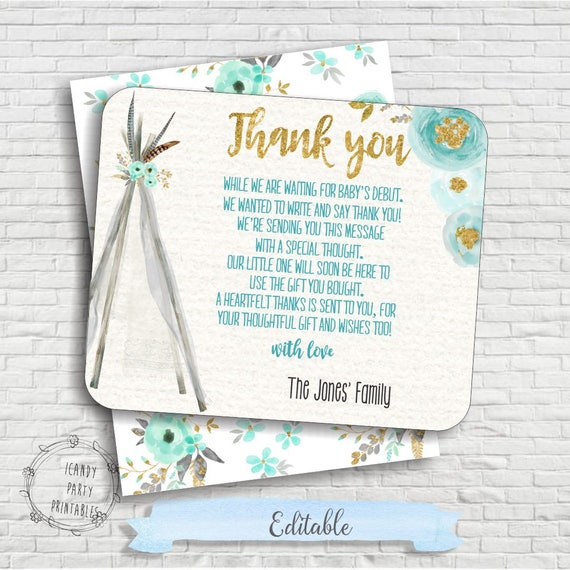 Tribal Baby Shower, Thank you card, Boho baby shower thank you