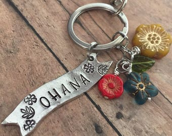 Ohana Keychain, Ohana Key Chain, Family Keychain, Hawaiian Gifts, Gifts for Her, Flower Lei Keychain, Graduation Gift, Going Away Gift