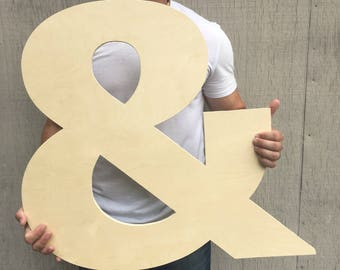 """Giant Ampersand, and symbol, &, weddings, anniversaries, monograms, wall decor, boyfriend gift, wooden symbols and letters, logogram, """"and"""""""
