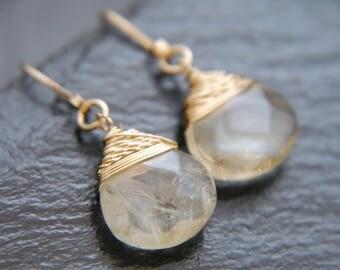 Citrine Earrings, Teardrop Earrings, Gold Filled, Wire Wrapped, Gemstone Briolette, Wedding Earrings, Simple Gold Earrings, Delicate, Boho