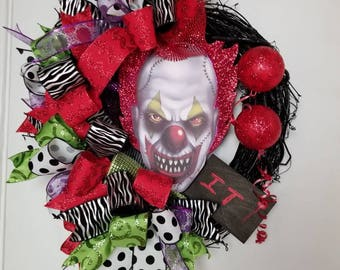 Halloween Wreath, It Wreath, Clown Wreath, Halloween Decor, Door Decor, Clown Decor, Halloween Clown Wreath, Halloween Funky Bow Wreath