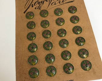 Card of Vintage Handpainted French Plastic Buttons