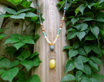 yellow stone pendant citron and turquoise beaded bohemian necklace