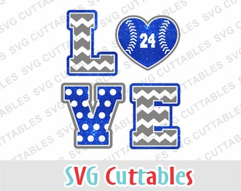Baseball svg, Love Baseball svg, Love Softball svg, dxf, eps, baseball heart, silhouette, chevron, cricut cut file, digital download