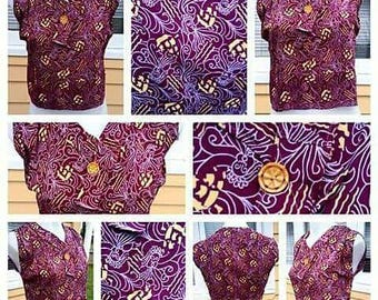 Super RARE 1920s/30s Rayon Novelty Print Blouse with Tall Ships and Cloud Faces!