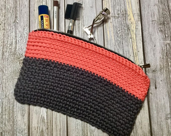 Crochet Makeup Bag, Coral and Grey Clutch, Cosmetic Bag, Small Handbag with Zipper