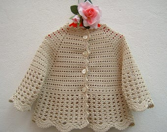 Baby Sweater Crochet-Mini cardigan in pure beige cotton-jacket for baptism baby and ceremonies-size 12-18 months
