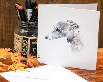 Greetings card 'Gentle and patient' whippet.