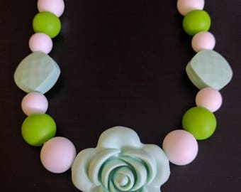 Flower Silicone Teething/Nursing/Babywearing Necklace - Safety Clasp and Nylon Cord