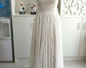 Bohemian French Lace Wedding Dress