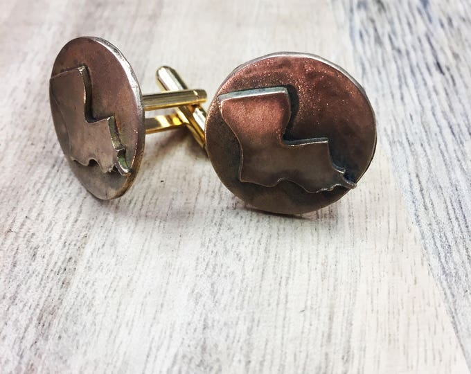 Cuff Links, Louisiana Cuff Links, Cajun, Adadiana, gold Cuff Links, Gifts for Men