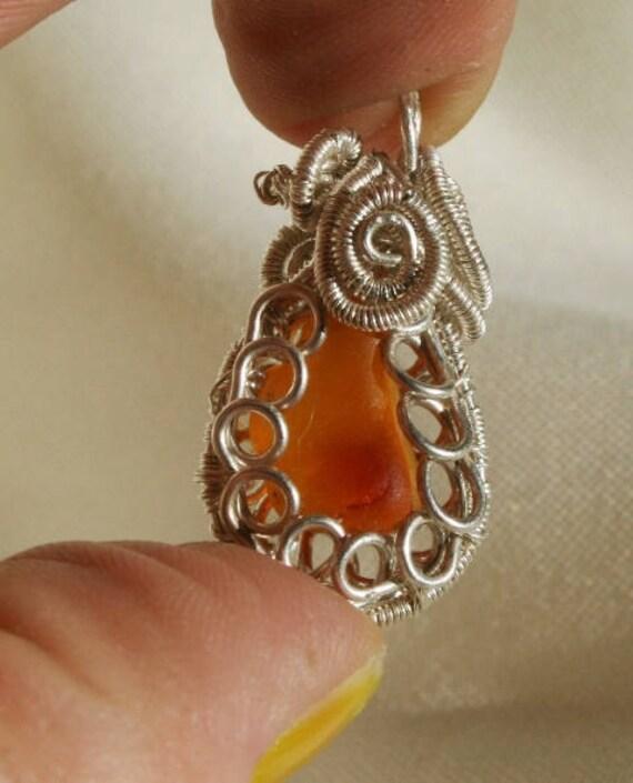 RARE ORANGE MULTI Sea Glass Pendant - Set in Sterling Silver