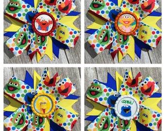 Elmo Hair Bow, Sesame Street Hair Bow, Big Bird Hair Bow, Zoe Hair Bow, Cookie Monster Hair Bow
