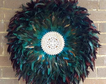 Real feather juju hat style wall art hangings
