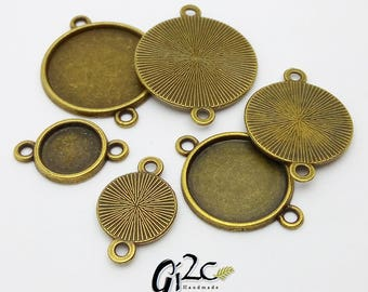 Antique Bronze Round Bezel Link with 2 loops, Bezel Tray, Picture Frame Link, Bezel Cup, Bezel Blanks, Cabochon Setting, Metal Connectors