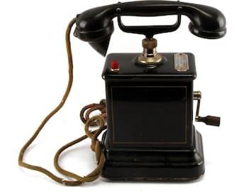 Antique Danish crank metal case desk telephone Aktieselskab 1920s