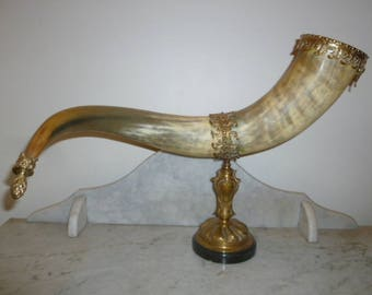 Antique Danish Horn of Plenty brass and marble 1880s