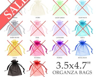 "Organza bags 3.5x4.7"" (30) - Organza pouch - Organza gift bags - Sheer bags - Wedding favor bag - Drawstring bag - Jewelry pouch"