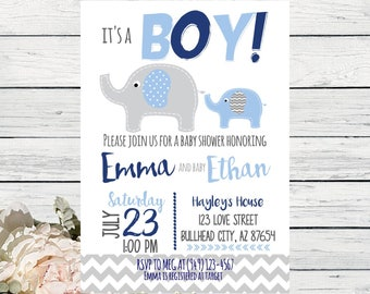 Elephant Baby Shower Invite***Digital File*** DIY Printing! (Baby-Elephant)