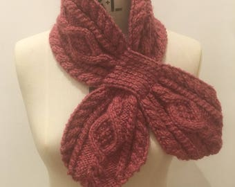 Rose Pink Retro Knitted Cable Collar Ascot Scarf