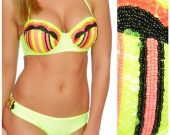 Mermaid Bikini, push up bikini  balconette neon bikini, yellow bikini, Sequin Bikini, Sexy Bikini cute bikini, swimsuit Floridita Caliente