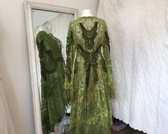 Boho coat olive green,Elven green coat,eco friendly fashion,rustic,Woodland jacket,handmade,unique,festival couture, burning man clothing,