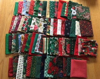 Vintage CHRISTMAS Fabric DESTASH Lot - Quilts Cotton Remnants Scraps - 2+ lbs