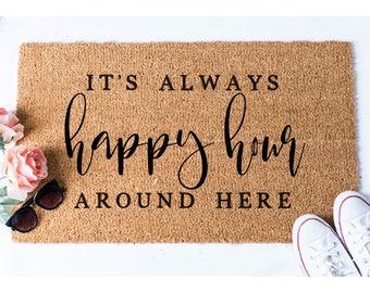 happy hour doormat booze doormat wine doormat funny doormat welcome mat