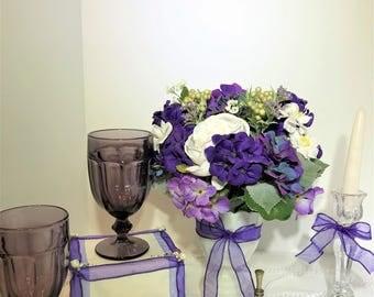 Purple Wedding Decor Bride And Groom Table Centerpieces Set Up