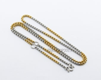 "Gold-Silver stainless steel necklace ,3 hooks.(Size : 2 mm. x 27.5"")(No.16)"