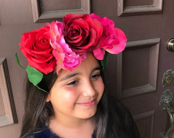 Coachella Flower crown frida kahlo girl halo Wedding Flower Faux Crown Hair Crown Accessory Floral Wreath BohoChic Red Pink Green