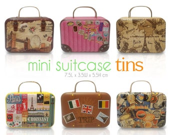 10 pcs Mini Suitcase Tins - Miniature Travel Luggage Collectibles -  Gift Packaging Containers - Party Wedding Favors